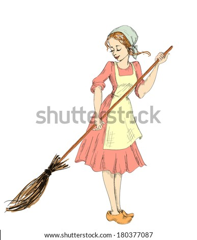 cinderella with a broom sweeps