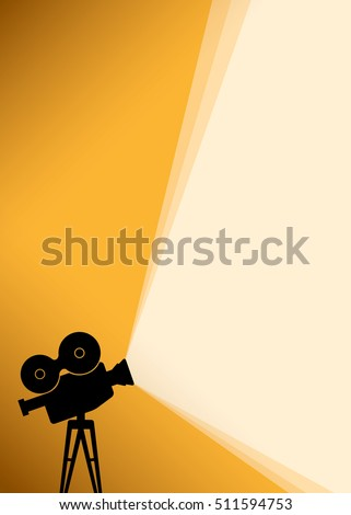 Cinema poster background with black Silhouette of camera or projector with yellow light rays. Vector illustration