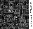 CINEMA. Seamless vector pattern with word cloud. Illustration with different association terms. - stock vector