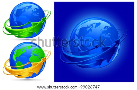 Circle arrows around blue planet, globalization vector illustration