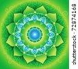 circle background, bright green mandlala of anahata chakra, vector - stock vector