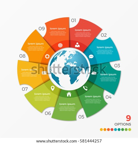 circle chart infographic template globe 6 stock vector 586686710 shutterstock. Black Bedroom Furniture Sets. Home Design Ideas