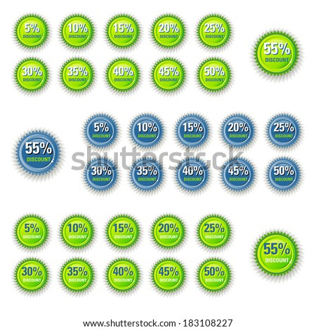 Circle colour for sticky label price tag promotion / Green Star Discount circle label