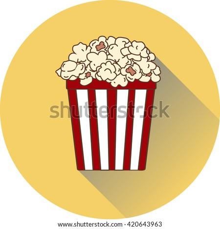 Popcorn Cinema Round Circle Icon Flat Stock Vector ...