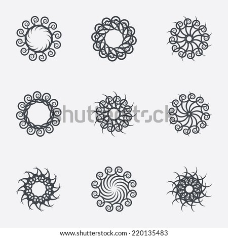 Circle geometric ornaments. Abstract spirographs set. Artistic vintage wreaths. 9 icons. Decorative Stamp patterns. Vector