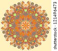 Circle lace ornament, round ornamental geometric doily pattern - stock vector