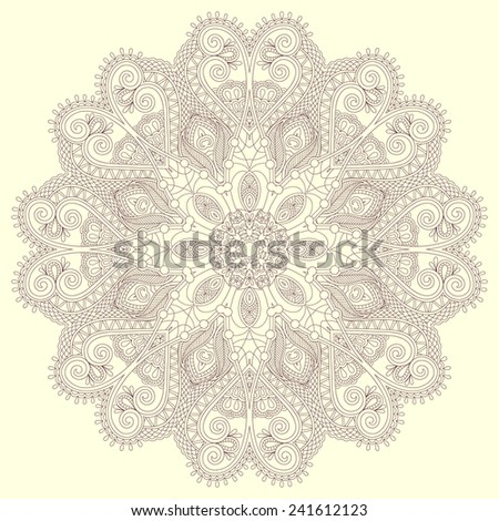 Circle lace ornament, round ornamental geometric doily pattern. Vector illustration