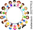 Circle of happy children different races - stock vector
