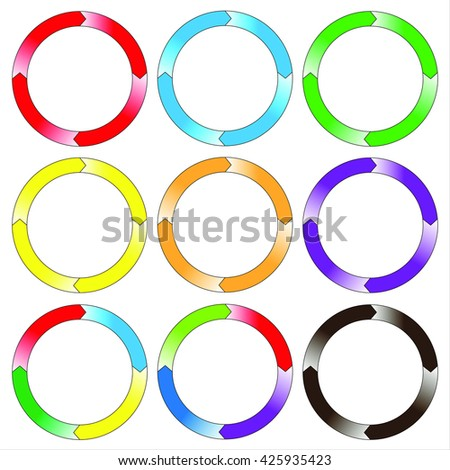 Circle, ring. Set of colorful circle banners. Four connection. Vector. EPS