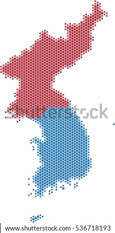 Circle shape North and South Korea map on white background, vector illustration.