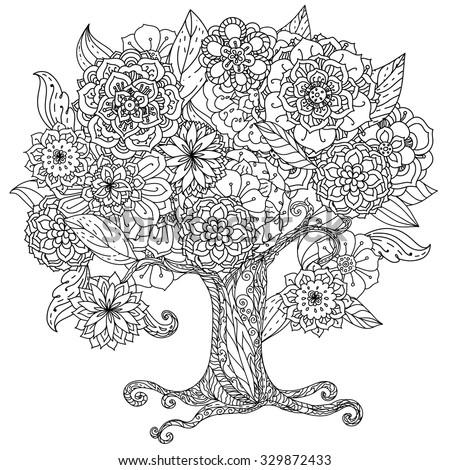 Anti Stress Blooming Tree Birds Hearts Stock Vector