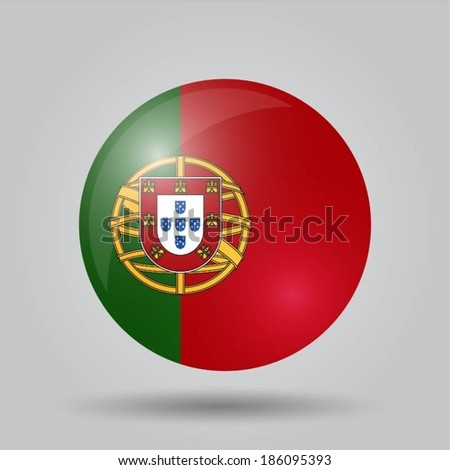 Circular flag with shadow and 3D effect, on grey background - Portugal