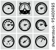 Circular gauges icons set. - stock vector