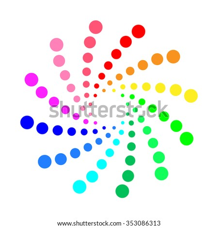Circular spectrum pattern on white background - vector format