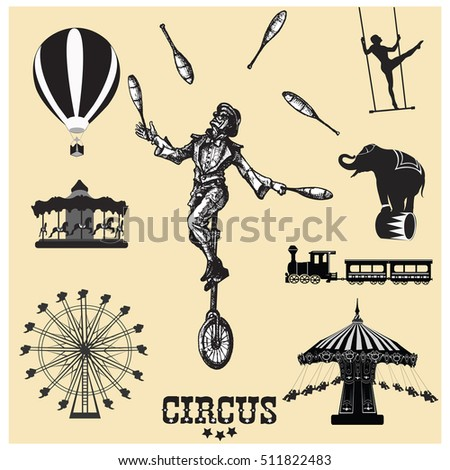 Circus and amusement park vector illustrations. Juggler on unicycle