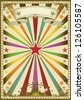 Circus color vintage poster. A multicolor poster with sunbeams for you. - stock photo