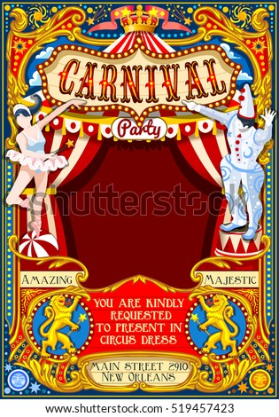 Circus tent people artist show big top Retro Template design. Poster Invite Kids game Birthday Party. Carnival Cabaret Vintage vector background. Crazy Clown family amusement park theme illustration