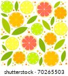 Citrus background  - orange, lemon, lime slices and leaves. vector illustration - stock vector