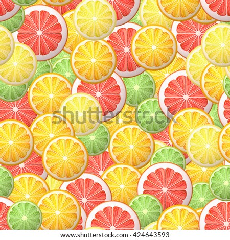 Citrus seamless pattern with grapefruit, lemon, lime, orange. Summer mood.