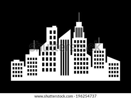 City Icon On White Background Stock Vector 196254728 ...