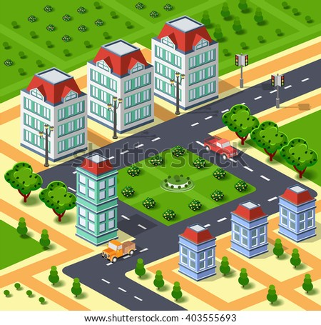 City illustration with urban infrastructure. Three-dimensional city. Isometric view of  houses, streets, roads and trees. 3d parks and buildings. Illustration stock vector
