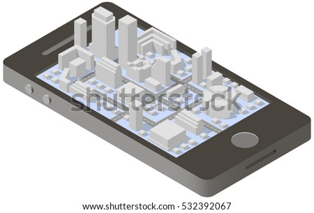 City isometric plan with road and urban silhouette of building on screen smartphone.