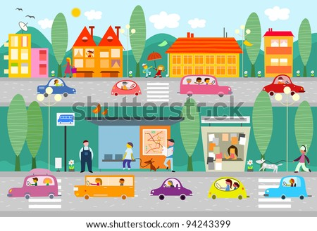 City life scene with bus stop - vector