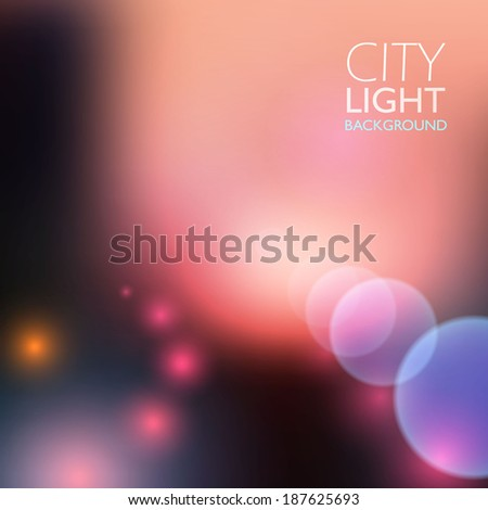 City lights blur vector background.