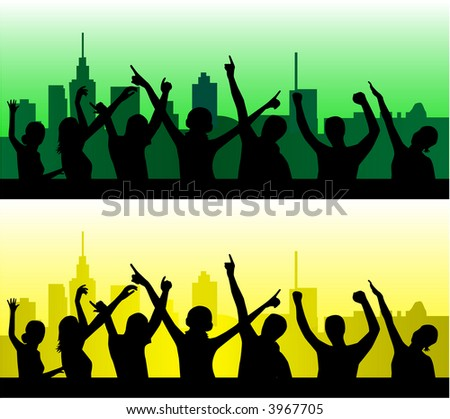 City Scene - People Dancing Silhouettes - Vector Illustration