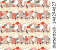 City seamless pattern - stock photo