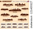 City skyline set. Great Britain. Vector silhouette illustration. - stock vector