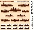 City skyline set. 10 vector city silhouettes of USA #6 - stock vector