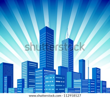 City skyscraper view background. Vector illustration