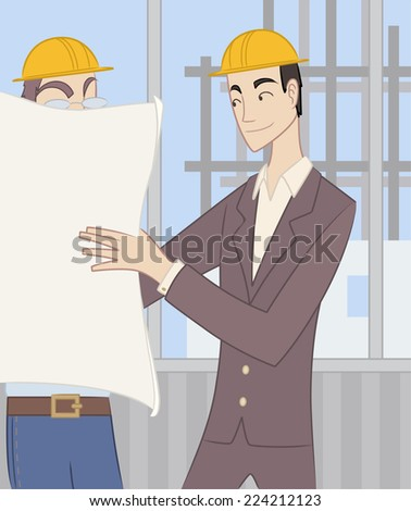 Civil Architect Structural Engineer Architectural Construction Planner, exposing construction blueprints to a worker.