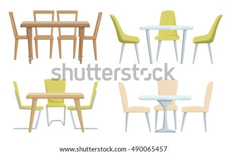 Set chairs stock vector 21918580 shutterstock for Kitchen set restoran