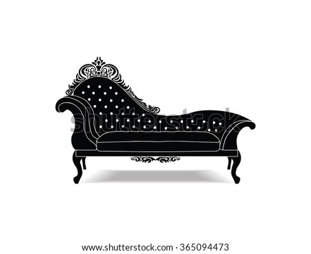 Classic Baroque royal bench with luxurious ornaments . Vector sketch
