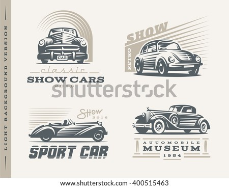 Classic Cars Logo Illustrations On Light Stock Vector
