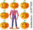 Classic halloween pumpkins set plus one scary scarecrow. - stock vector