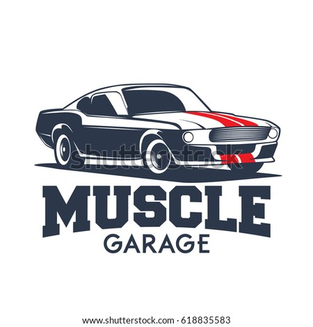 American Customized Muscle Car Stock Vector