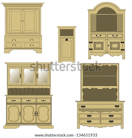 Classical style wood furniture, vector illustration.