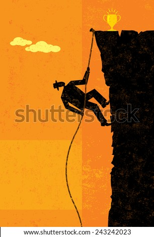 Climbing to Victory A businessman climbing a rope up the side of a cliff about to reach the top. The man, rope, and cliff are on separate layer from the background.