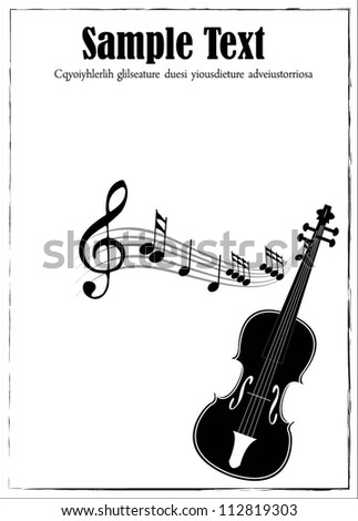 Clip Art Illustration of a music background with music notes. Various sheet music musical notes