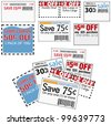 Clip this group of six print coupons as elements store sale ad designs - stock photo