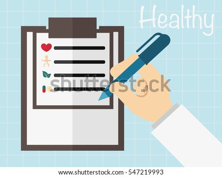 Clipboard in hand doctor. Doctor takes notes in a Clipboard. Medical report,.vector illustration.