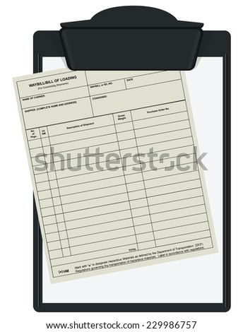 Clipboard with accounting forms waybill. Vector illustration.