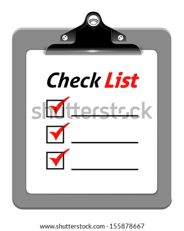 Clipboard with check list, vector illustration