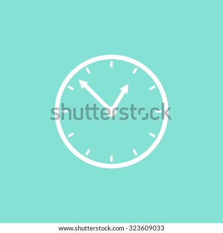 Clock  icon on green background. Vector illustration.