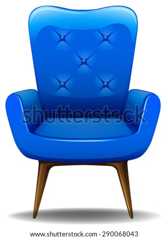 close up blue armchair made of leather