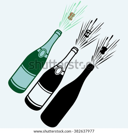Close-up of champagne explosion. Isolated on blue background. Vector silhouettes