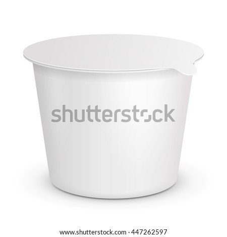 Closed Cup Tub Food Plastic Container For Dessert, Yogurt, Ice Cream, Sour cream Or Snack. Illustration Isolated On White Background. Mock Up Template Ready For Your Design. Vector EPS10